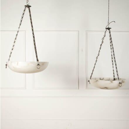Pair of Large Alabaster Hanging Lights LC3612469