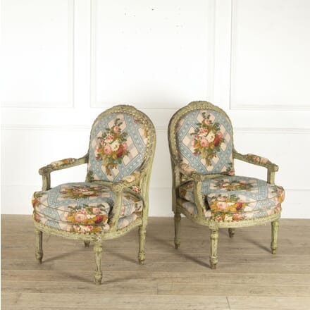 Pair of Louis XVI Style Green Painted Fauteuils CH8812214