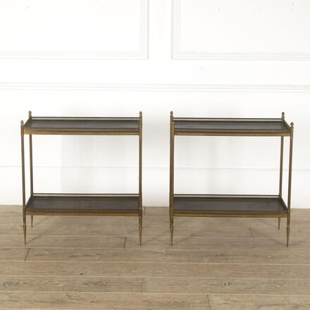 Pair of Maison Jansen Leather and Brass Side Tables CO4512400