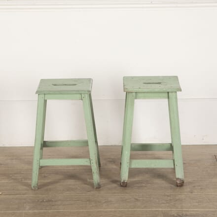 Pair of Small French 20th Century Painted Green Stools ST4412232