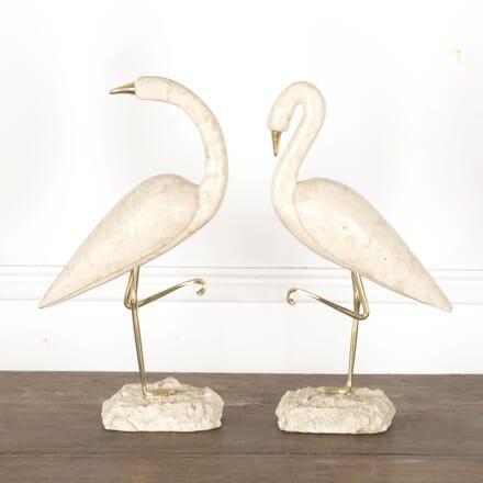 Pair of Travertine Flamingos DA3013187
