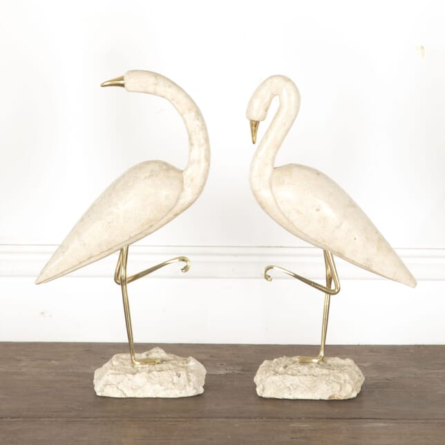 Pair of Travertine Flamingos DA3013187