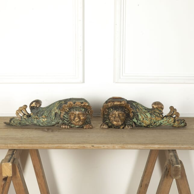 Pair of Wood Carved Lions DA7312452