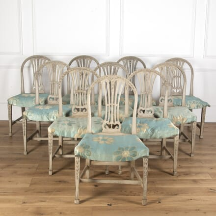 Set of 10 Chippendale Style Painted Dining Chairs CH7313379