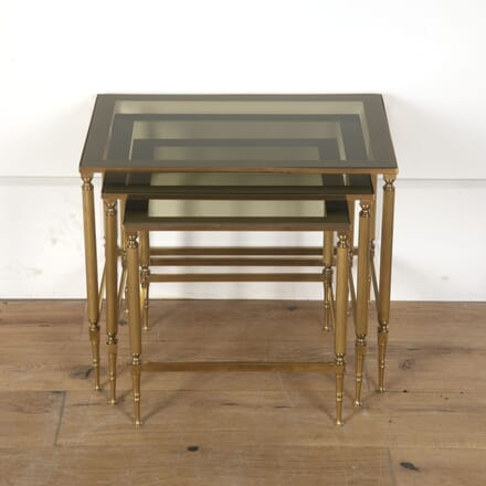 Set of Brass and Glass Nesting Tables CO7313390