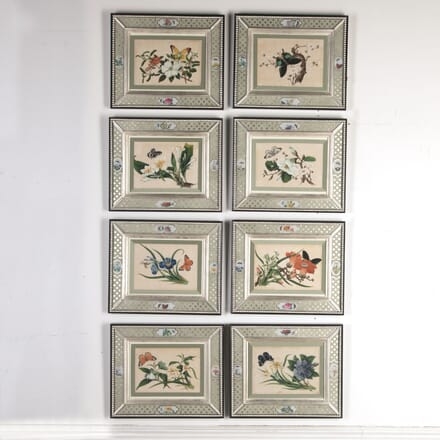 Set of Eight Chinese Ricepaper Paintings WD7613288