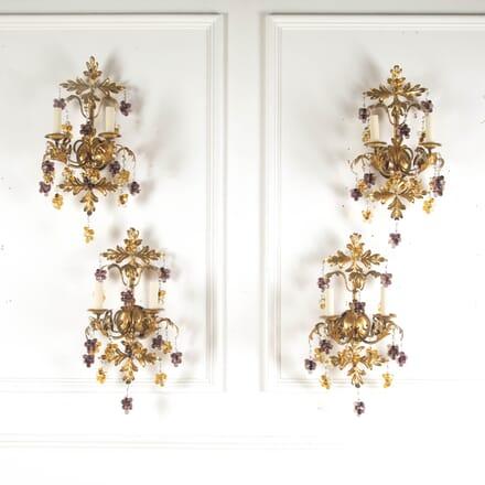 Set of Four 1950s Italian Gilt and Glass Wall Lights LW2112820