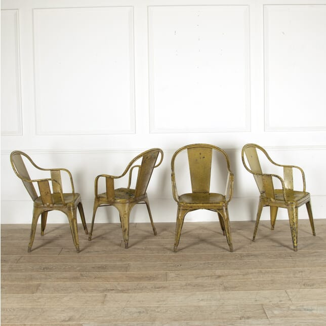 Set of Four Yellow French Tolix Armchairs CH4412046