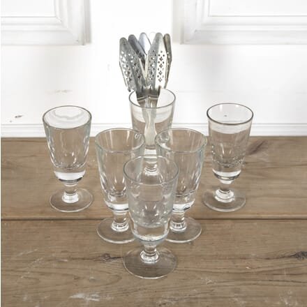Set of French Bistro Glasses and Silver Plated Absinthe Spoons DA5812406