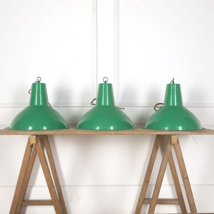 Set of Three French Industrial Enamel Pendant Lights LL3713123