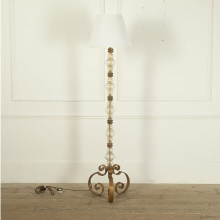 Spanish Mid 20th Century Gilt Iron and Glass Standard Lamp LF4512194