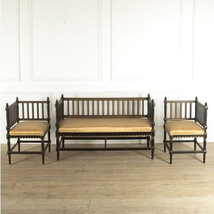 Swedish Ebonised Sofa and Corner Chairs SB7812294