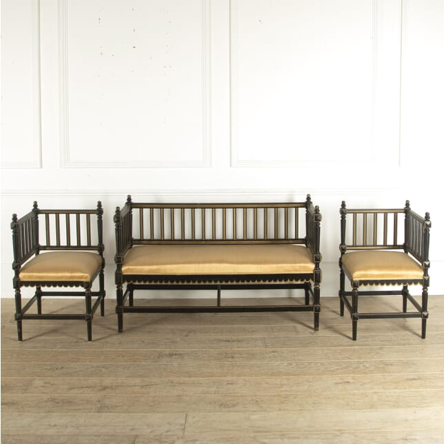 Swedish Ebonised Sofa and Corner Chairs SB7812294