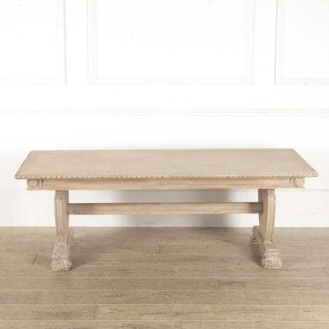 Swedish Oak Coffee Table with Decorative Base and Lime Wash CT4412229