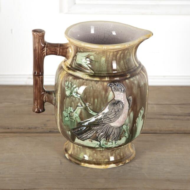 Victorian Majolica Jug Vase 'Birds' DA5913166