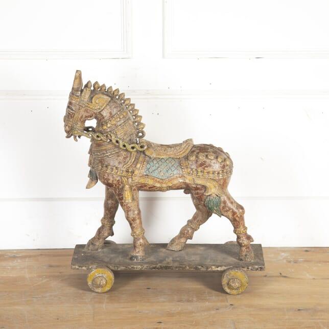 Indian Painted Hardwood Horse on Wheels DA8914533