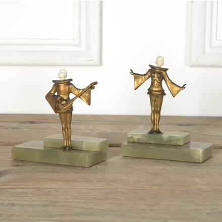 Art Deco Period Pierrot Minstrel Book Ends DA5810540