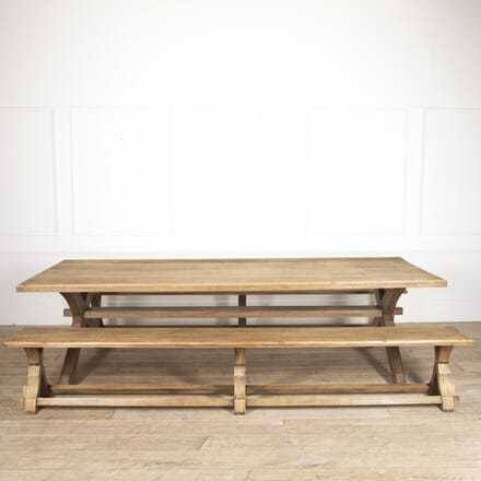Arts & Crafts Style Refectory Table and Benches TS5216354
