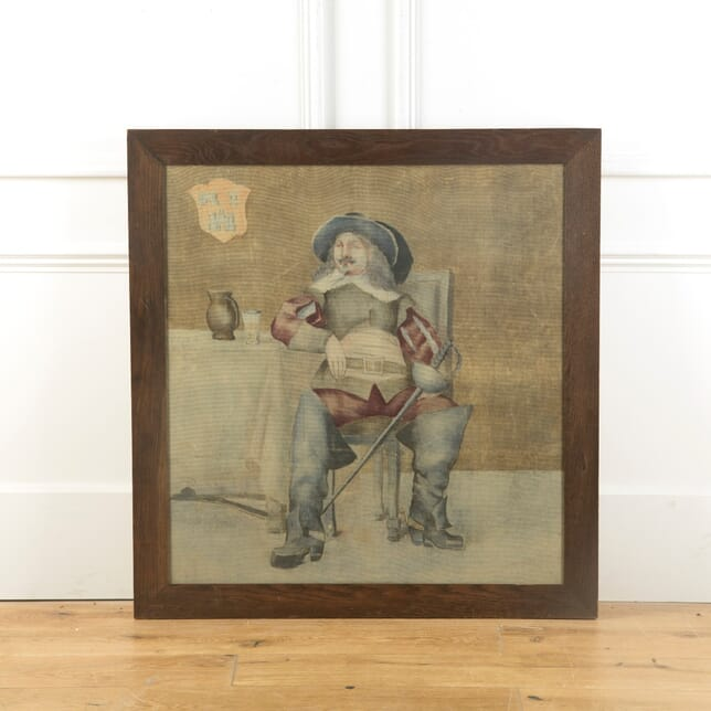 Arts and Crafts Oak Framed Picture of Cavalier WD519292