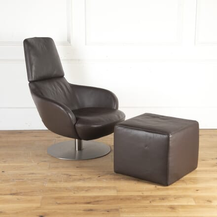 'BREND' Italian Leather Armchair and Footstool by Natuzzi Italia CH8013779
