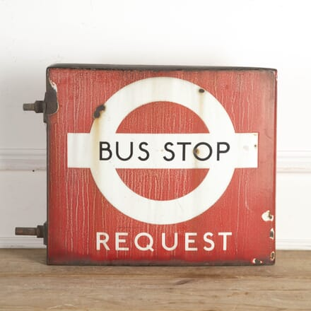 Vintage Double-Sided Bus Stop Sign DA8716246