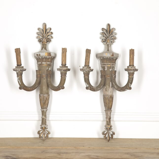 Pair of Carved Wood Wall Sconces WD1314947