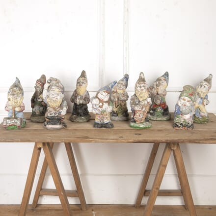 Collection of 10 Weathered Garden Gnomes GA8016670
