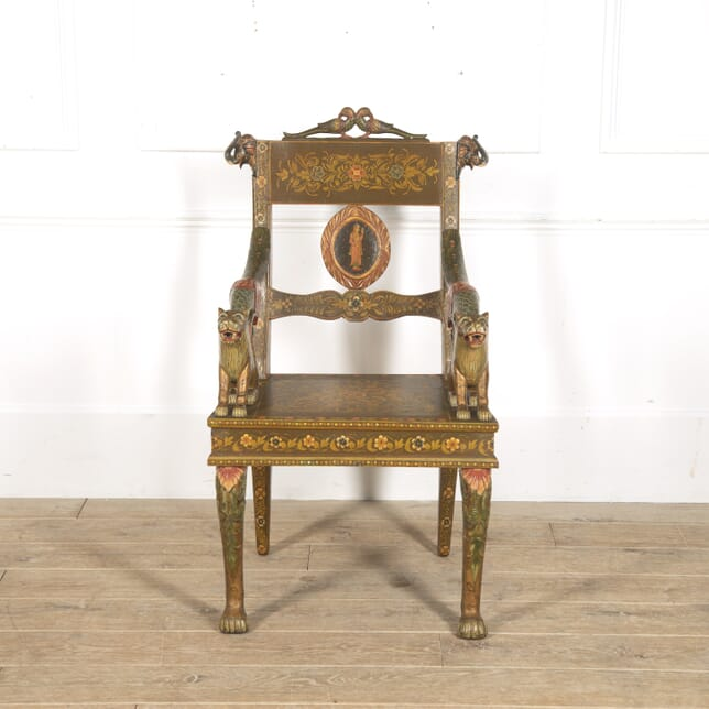 Early 20th Century Indian Hand-Painted Chair CH8815710