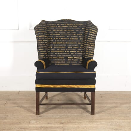 Edwardian Wingback Armchair with Royal Navy Covering CH3515022
