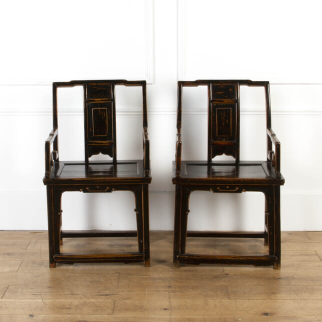 Elegant Pair of Chinese Ebonised Chairs CH5917229