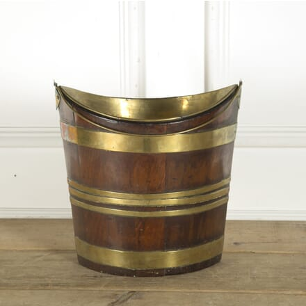 English 18th Century Mahogany and Brass Bound Navette Shaped Bucket DA889711