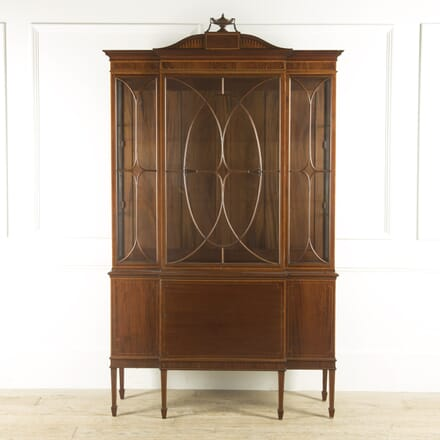 English Mahogany, Satinwood, and Inlaid Display Cabinet CU889686
