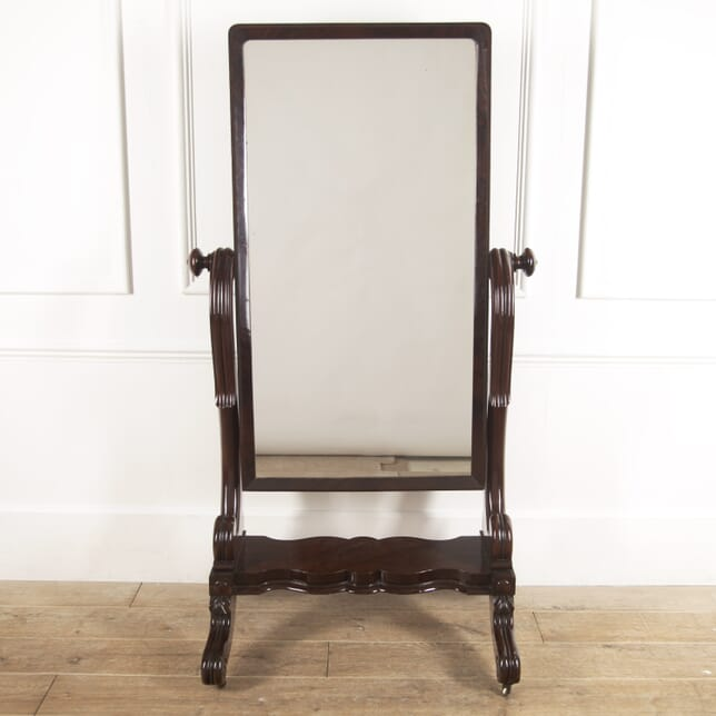 English 19th Century Mahogany Cheval Mirror MI8816484