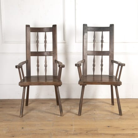 Pair of Spanish 19th Century Primitive Chairs CH8716397