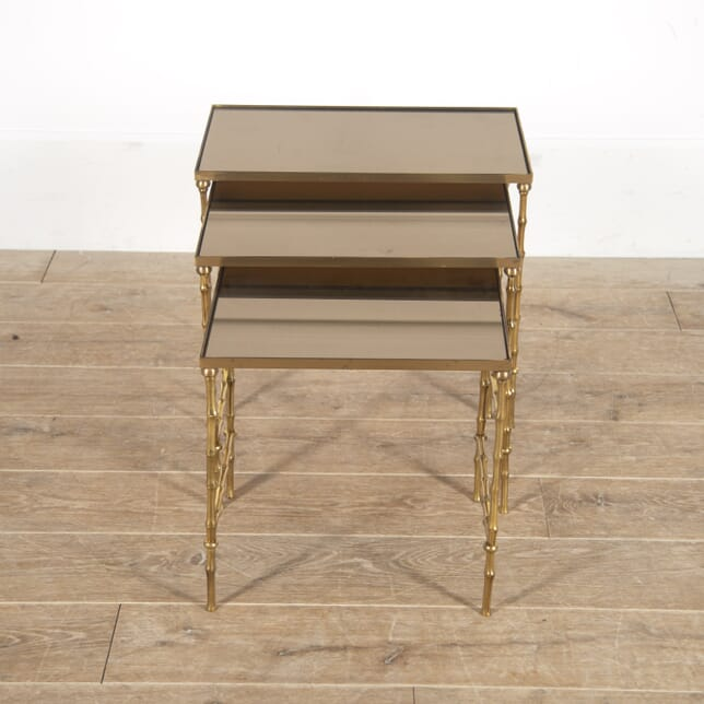 Brass Faux Bamboo Nesting Tables CT3016291