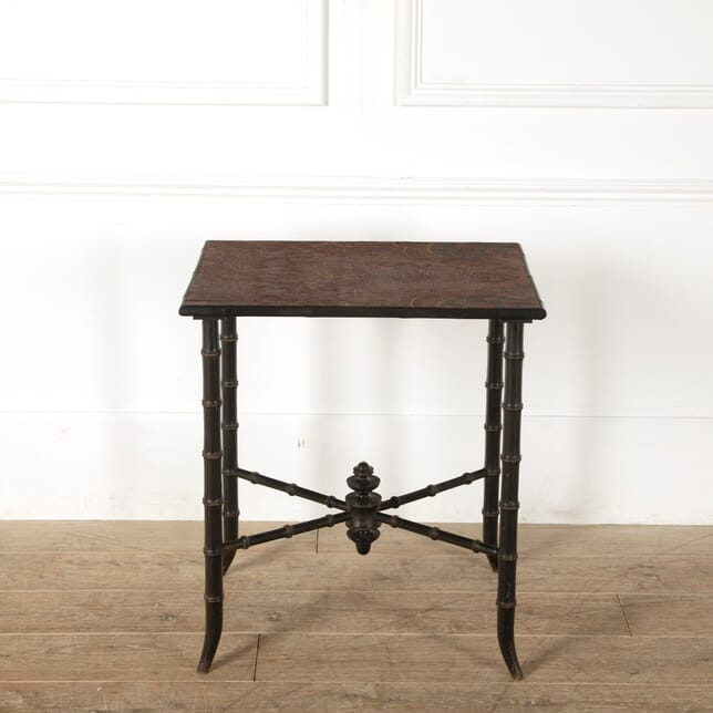 Faux Bamboo Side Table with Leathered Top TC1511552