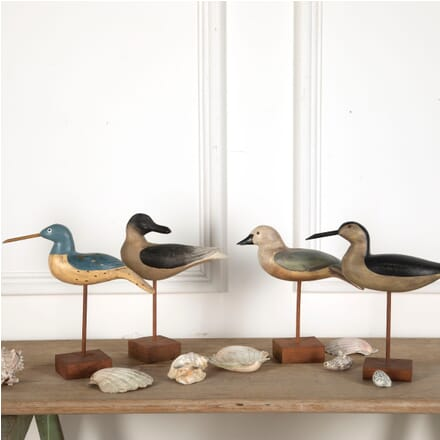 Four Carved and Painted Wooden Birds WD7611037