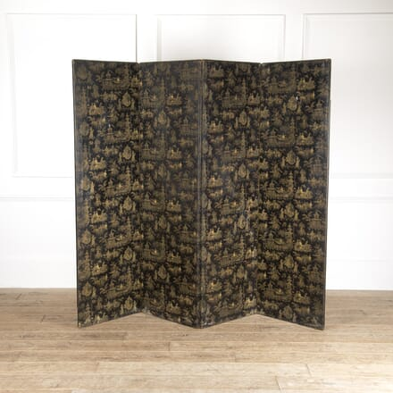 Leather Chinoiserie Folding Screen OF4813899