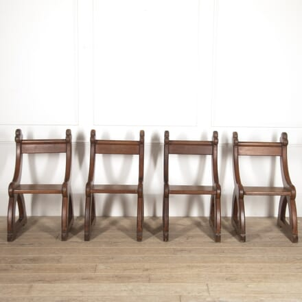 Four Gothic Pitch Pine Chairs CD7815294
