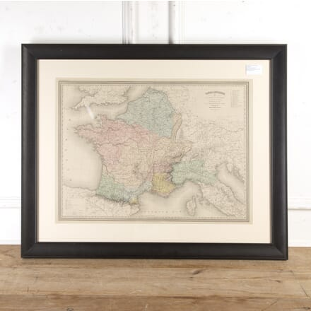 Framed Hand-Coloured Map of Ancient France WD8016681