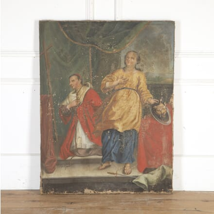 French 18th Century Religious Oil on Canvas DA8113943