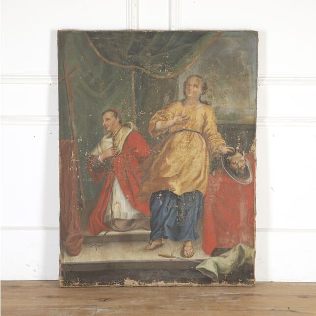 French 18th Century Religious Oil on Canvas DA8113943