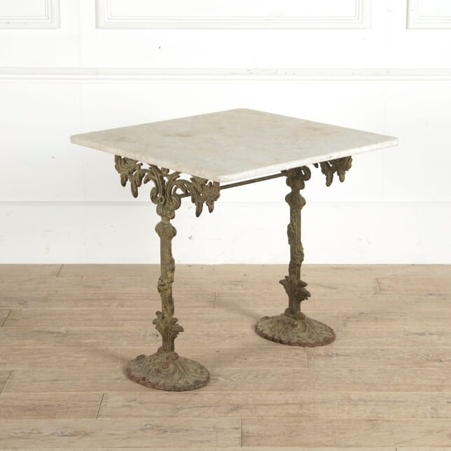French 19th Century Cast Iron Table with Marble Top GA1160967