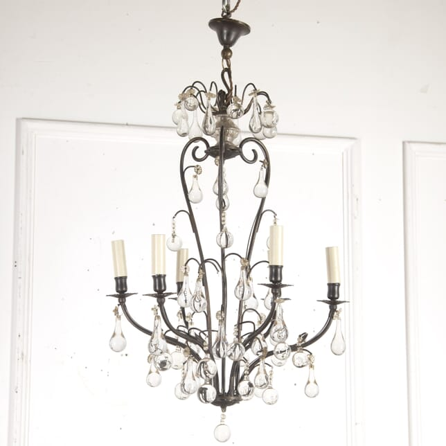 French Iron and Glass Chandelier LC9015930