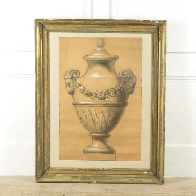 French Large Framed Design for a Garden Urn WD449253