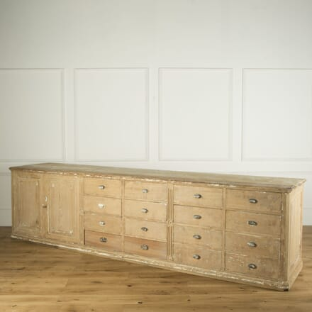 French Large Pine Bank of Drawers with Cupboard CC739165