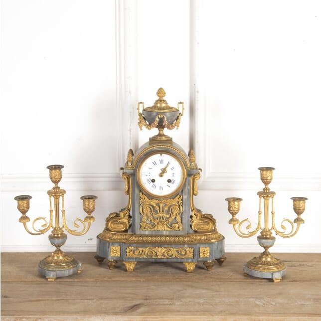 French Marble and Gilt Metal Clock Garniture DA7260780