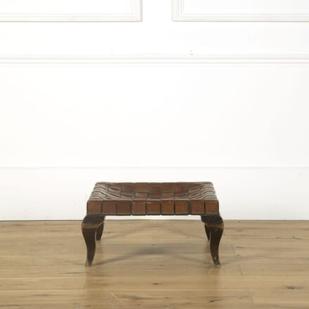 French Mid 20th Century Leather Woven Foot Stool ST379658