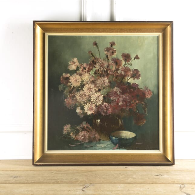 French Oil on Canvas Still Life Study of Flowers by Henri Joseph Pauwels WD889695