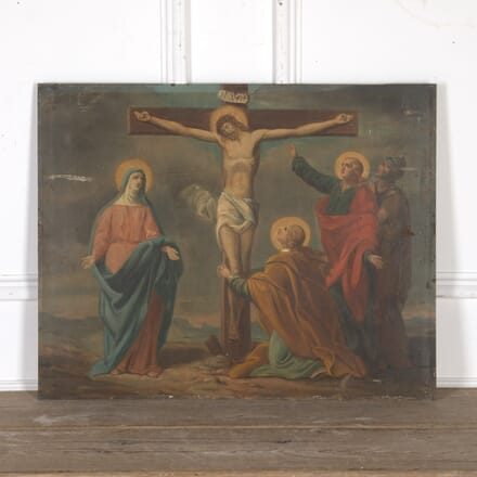French Oil on Tin Painting of Christ Crucified WD8015111